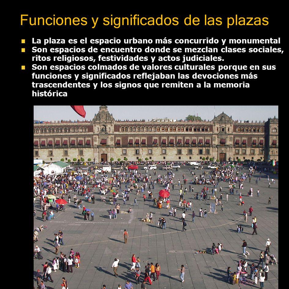Funciones y significados de las plazas La plaza es el espacio urbano más concurrido y monumental Son espacios de encuentro donde se mezclan clases soc