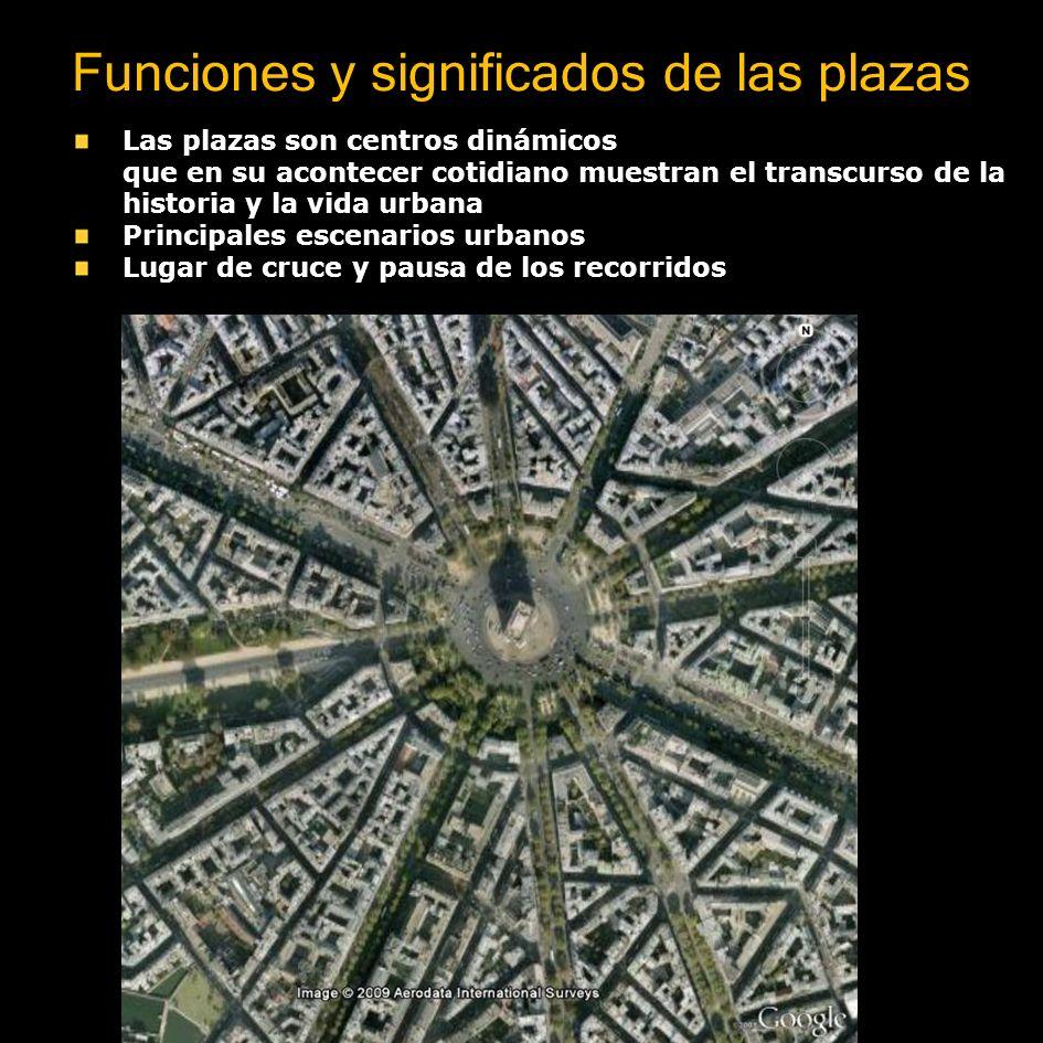 Funciones y significados de las plazas La plaza es lugar de cruce y pausa de los recorridos Las plazas son centros dinámicos que en su acontecer cotid