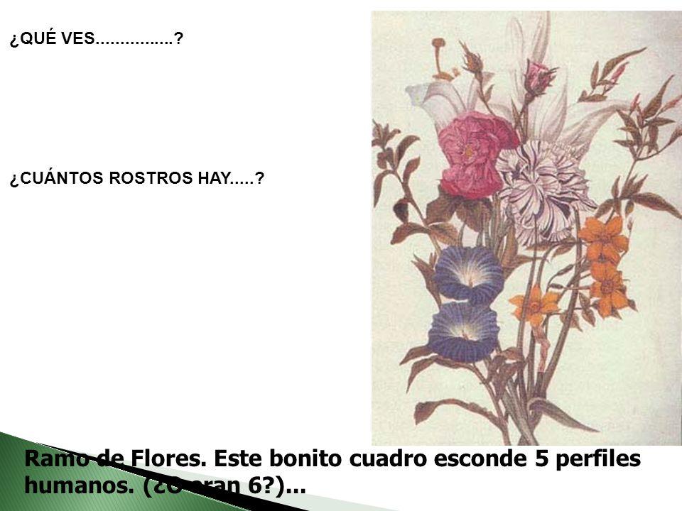 Ramo de Flores. Este bonito cuadro esconde 5 perfiles humanos. (¿O eran 6?)... ¿QUÉ VES................? ¿CUÁNTOS ROSTROS HAY.....?