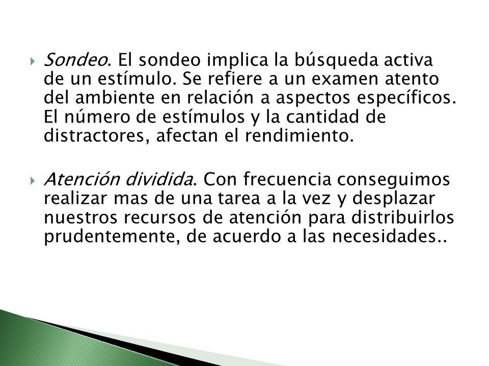 Sondeo. El sondeo implica la búsqueda activa de un estímulo. Se refiere a un examen atento del ambiente en relación a aspectos específicos. El número