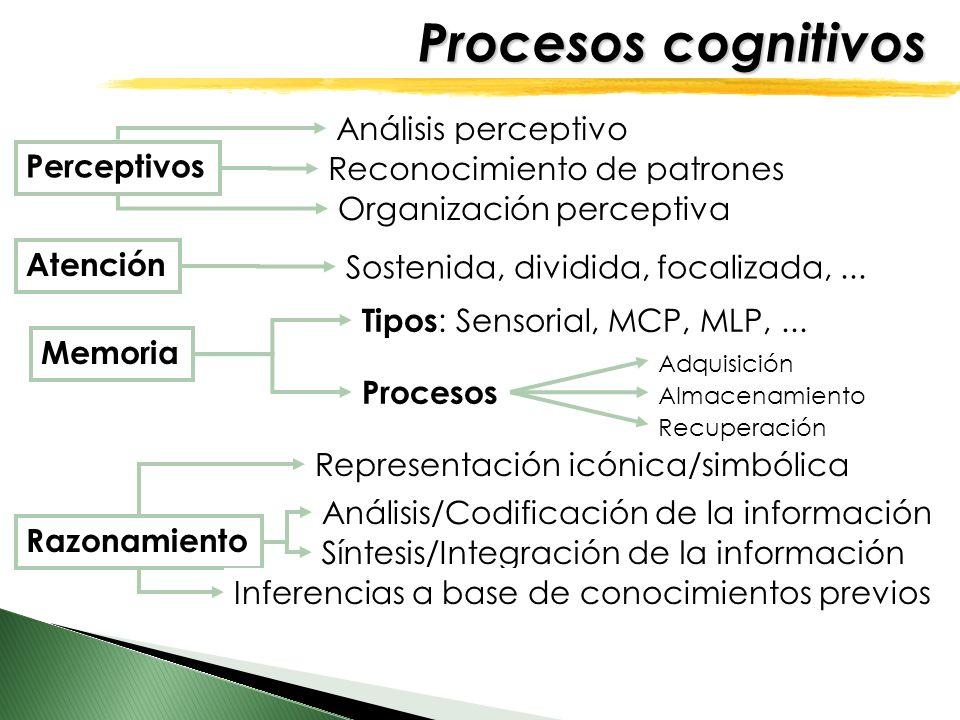 Procesos cognitivos Perceptivos Atención Memoria Razonamiento Análisis/Codificación de la información Síntesis/Integración de la información Inferenci
