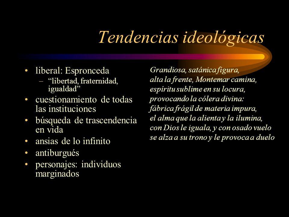 Tendencias ideológicas liberal: Espronceda –libertad, fraternidad, igualdad cuestionamiento de todas las instituciones búsqueda de trascendencia en vi