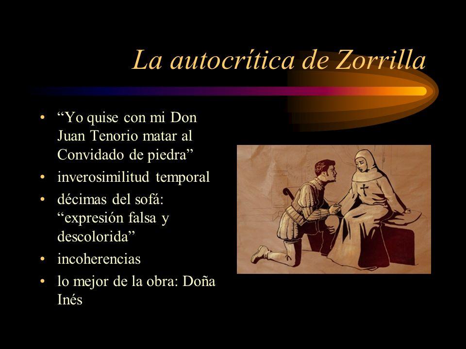 La autocrítica de Zorrilla Yo quise con mi Don Juan Tenorio matar al Convidado de piedra inverosimilitud temporal décimas del sofá: expresión falsa y
