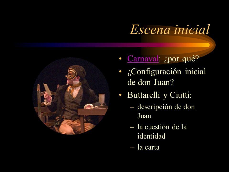 Escena inicial Carnaval: ¿por qué? Carnaval ¿Configuración inicial de don Juan? Buttarelli y Ciutti: –descripción de don Juan –la cuestión de la ident
