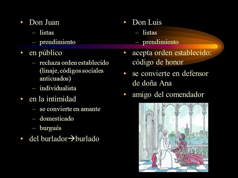 Don Juan –listas –prendimiento en público –rechaza orden establecido (linaje, códigos sociales anticuados) –individualista en la intimidad –se convier