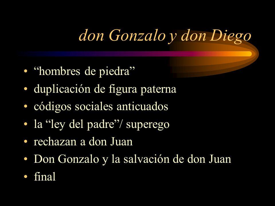don Gonzalo y don Diego hombres de piedra duplicación de figura paterna códigos sociales anticuados la ley del padre/ superego rechazan a don Juan Don