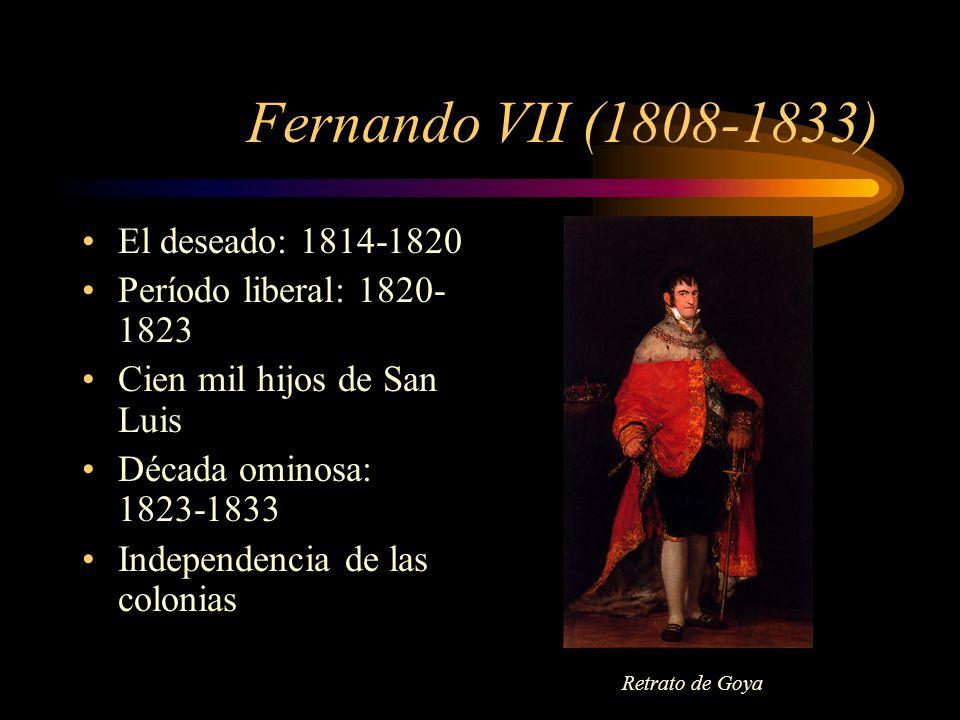 Fernando VII (1808-1833) El deseado: 1814-1820 Período liberal: 1820- 1823 Cien mil hijos de San Luis Década ominosa: 1823-1833 Independencia de las c