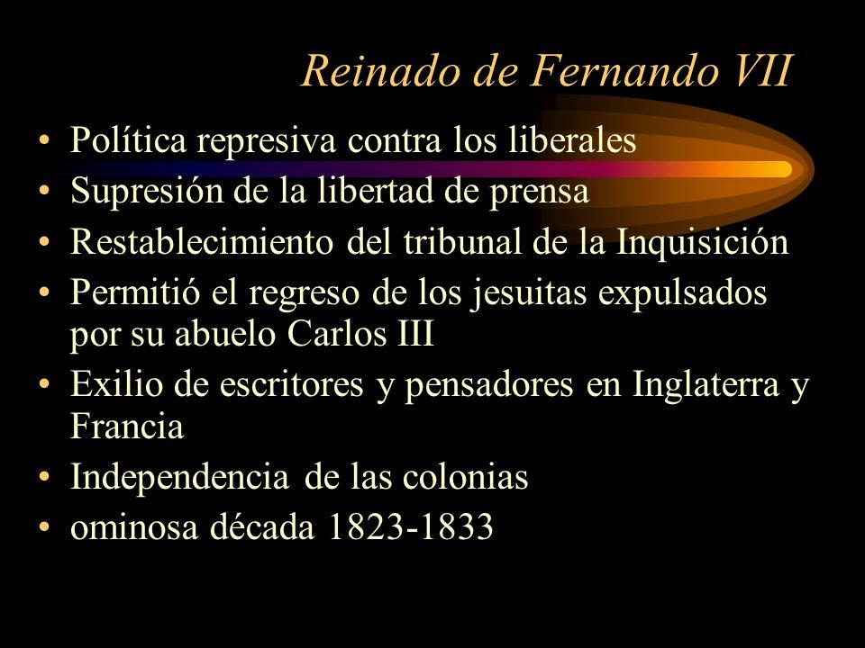 Reinado de Fernando VII Política represiva contra los liberales Supresión de la libertad de prensa Restablecimiento del tribunal de la Inquisición Per