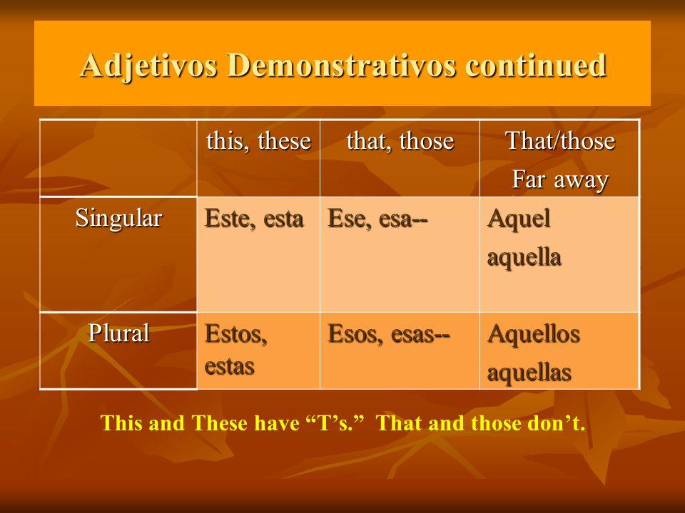Adjetivos Demonstrativos continued this, these that, those That/those Far away Singular Este, esta Ese, esa-- Aquelaquella Plural Estos, estas Esos, e