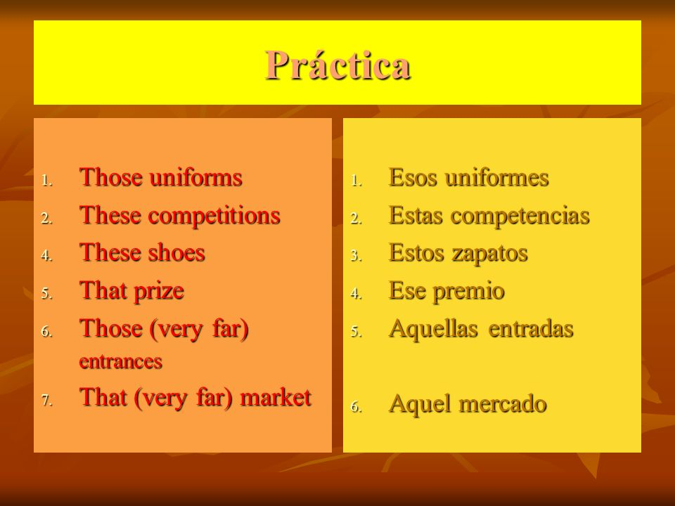 Práctica 1.Those uniforms 2. These competitions 4.