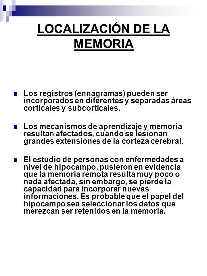 LOCALIZACIÓN DE LA MEMORIA Los registros (ennagramas) pueden ser incorporados en diferentes y separadas áreas corticales y subcorticales. Los mecanism