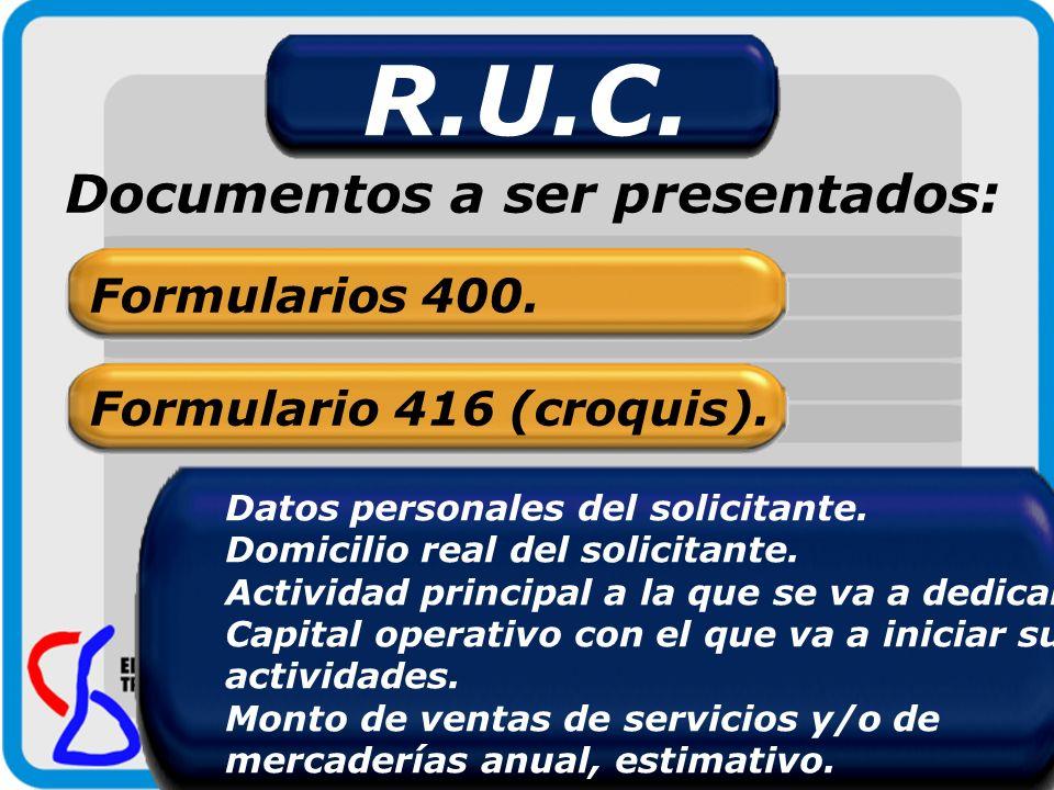 R.U.C. Documentos a ser presentados: Formularios 400. Formulario 416 (croquis). Datos personales del solicitante. Domicilio real del solicitante. Acti