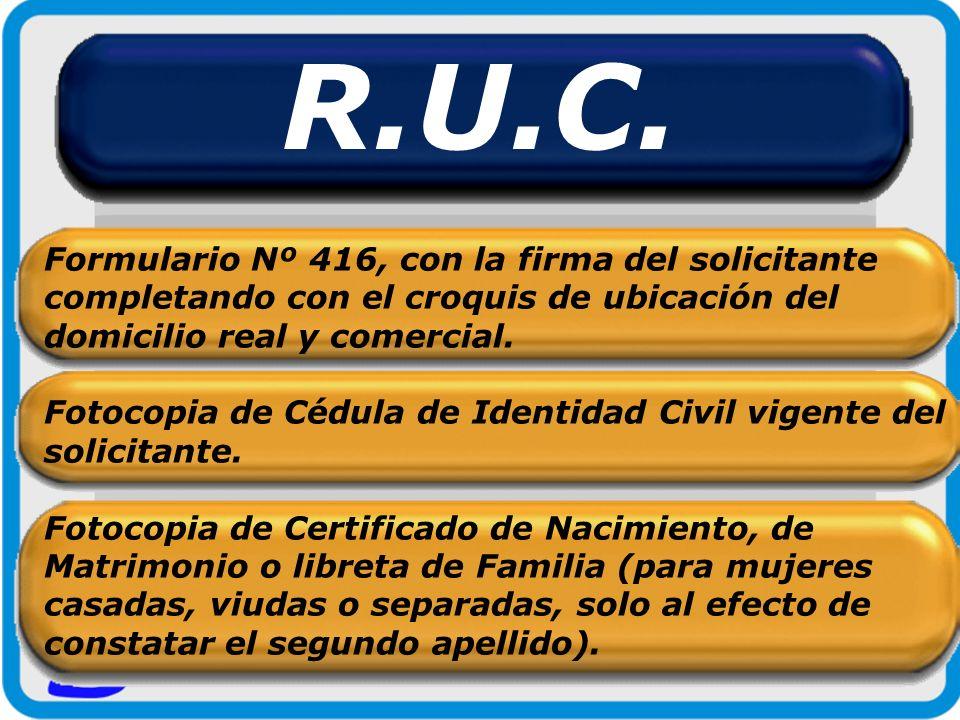 R.U.C. Formulario Nº 416, con la firma del solicitante completando con el croquis de ubicación del domicilio real y comercial. Fotocopia de Cédula de