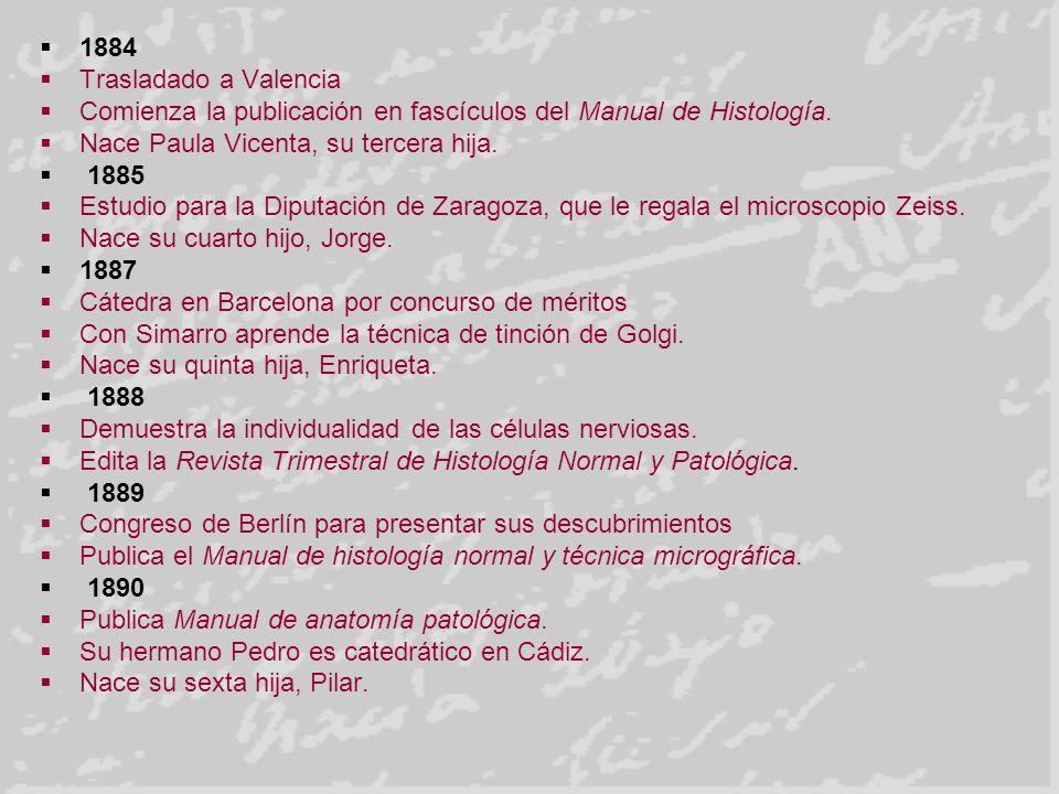 1884 Trasladado a Valencia Comienza la publicación en fascículos del Manual de Histología. Nace Paula Vicenta, su tercera hija. 1885 Estudio para la D