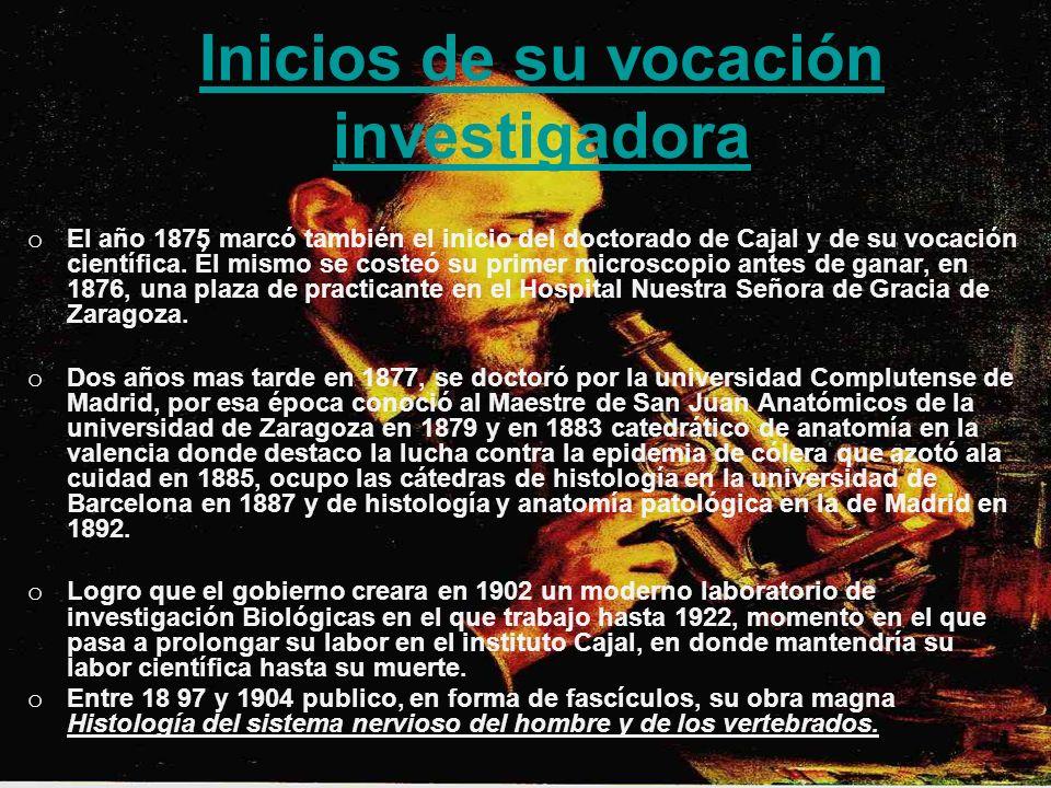 Inicios de su vocación investigadora o El año 1875 marcó también el inicio del doctorado de Cajal y de su vocación científica.