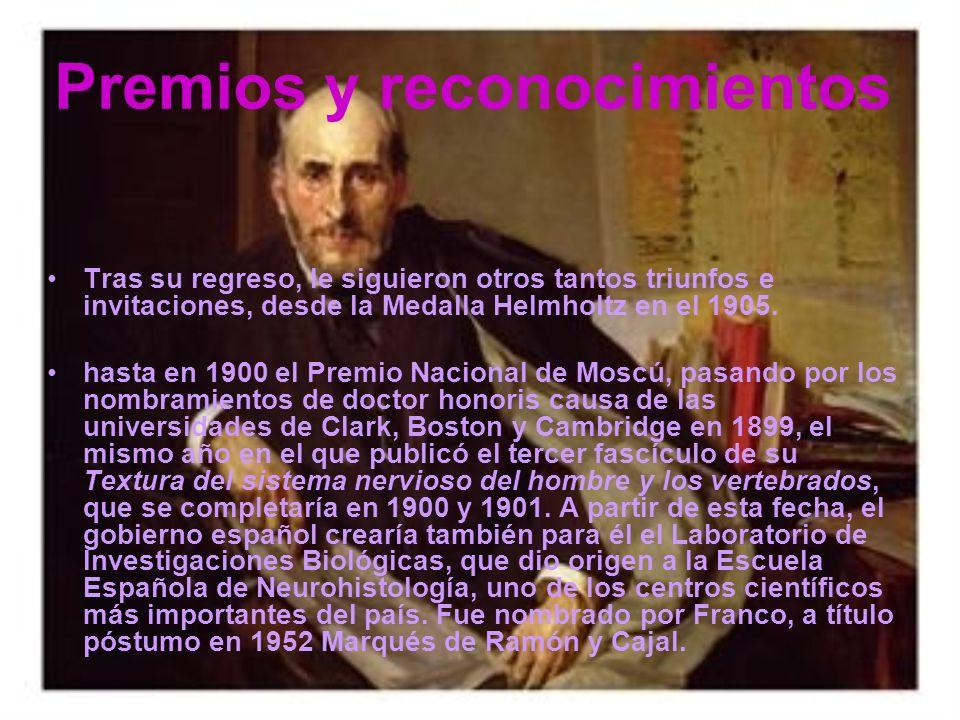 Premios y reconocimientos Tras su regreso, le siguieron otros tantos triunfos e invitaciones, desde la Medalla Helmholtz en el 1905.
