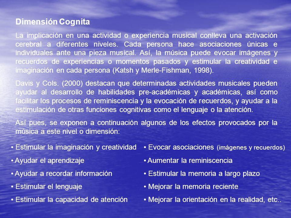Dimensión Cognita La implicación en una actividad o experiencia musical conlleva una activación cerebral a diferentes niveles. Cada persona hace asoci