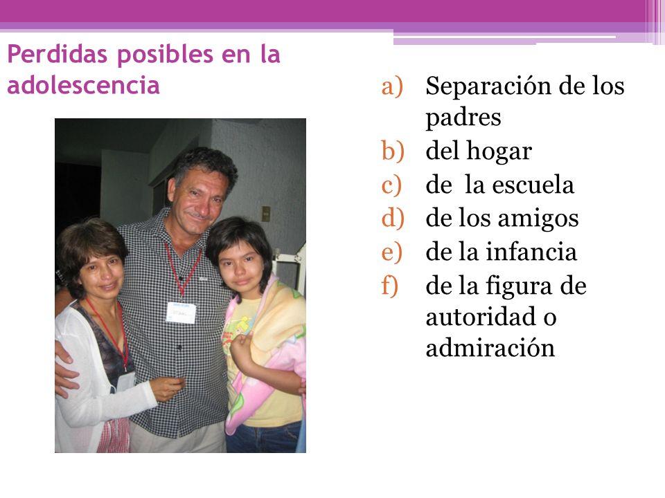 Perdidas posibles en la adolescencia a)Separación de los padres b)del hogar c)de la escuela d)de los amigos e)de la infancia f)de la figura de autorid