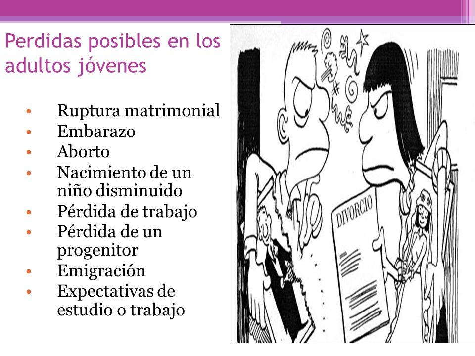 Perdidas posibles en los adultos jóvenes Ruptura matrimonial Embarazo Aborto Nacimiento de un niño disminuido Pérdida de trabajo Pérdida de un progeni