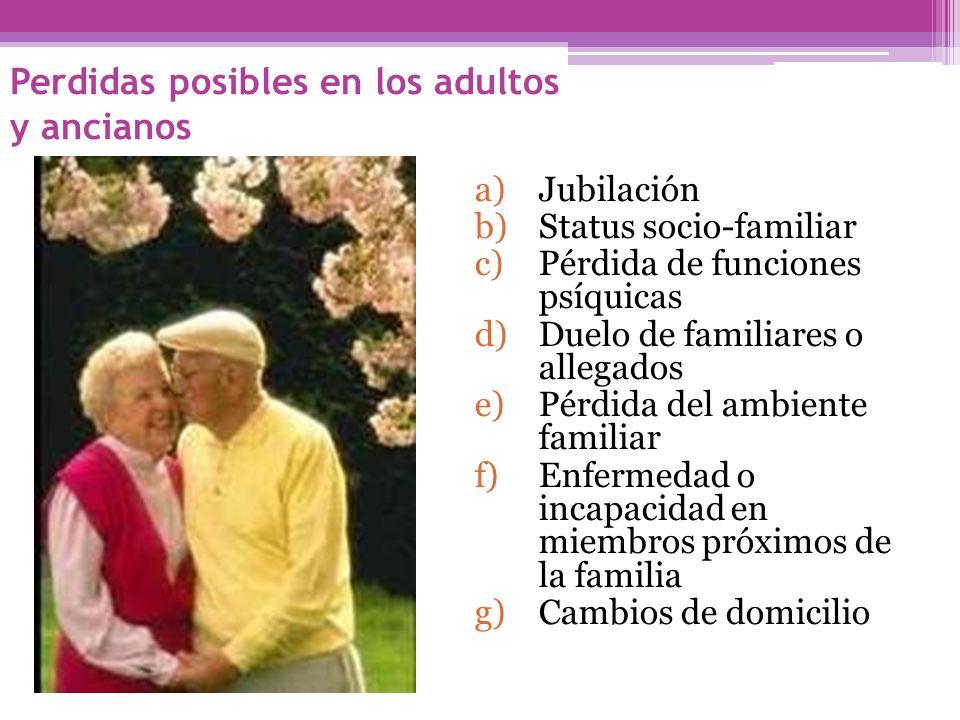 Perdidas posibles en los adultos y ancianos a)Jubilación b)Status socio-familiar c)Pérdida de funciones psíquicas d)Duelo de familiares o allegados e)