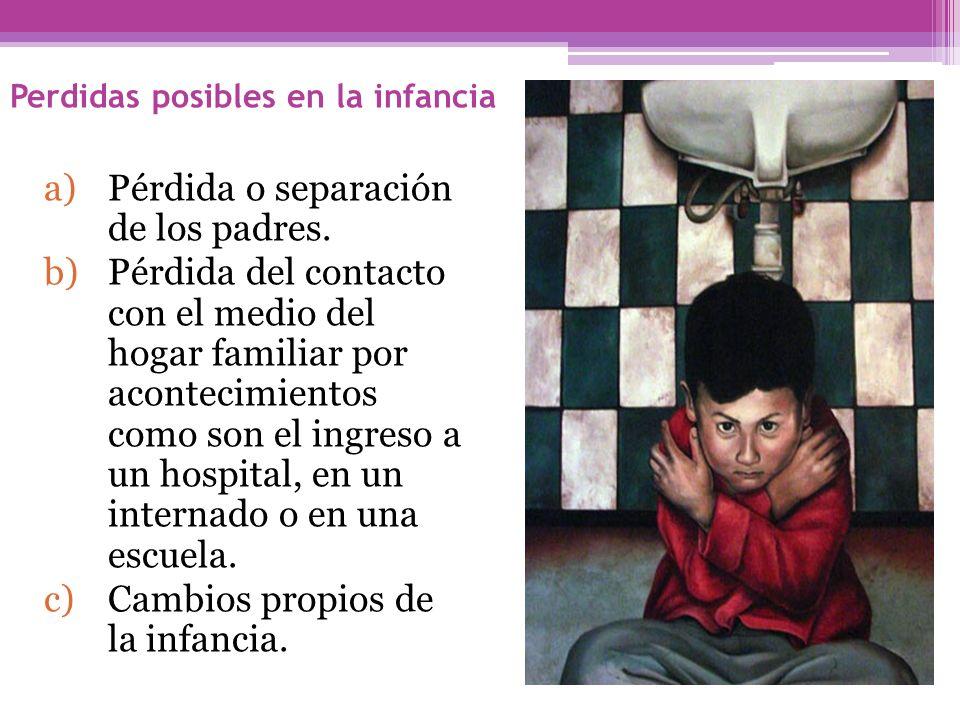 Perdidas posibles en la infancia a)Pérdida o separación de los padres. b)Pérdida del contacto con el medio del hogar familiar por acontecimientos como