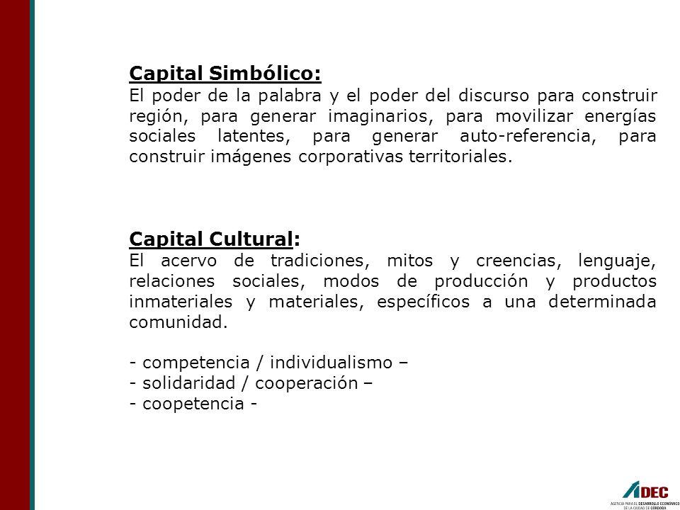 Capital Simbólico: El poder de la palabra y el poder del discurso para construir región, para generar imaginarios, para movilizar energías sociales la