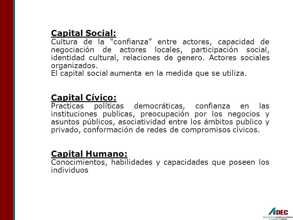 Capital Social: Cultura de la confianza entre actores, capacidad de negociación de actores locales, participación social, identidad cultural, relacion
