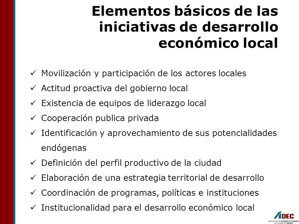 Elementos básicos de las iniciativas de desarrollo económico local Movilización y participación de los actores locales Actitud proactiva del gobierno