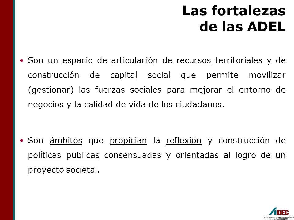 Las fortalezas de las ADEL Son un espacio de articulación de recursos territoriales y de construcción de capital social que permite movilizar (gestion