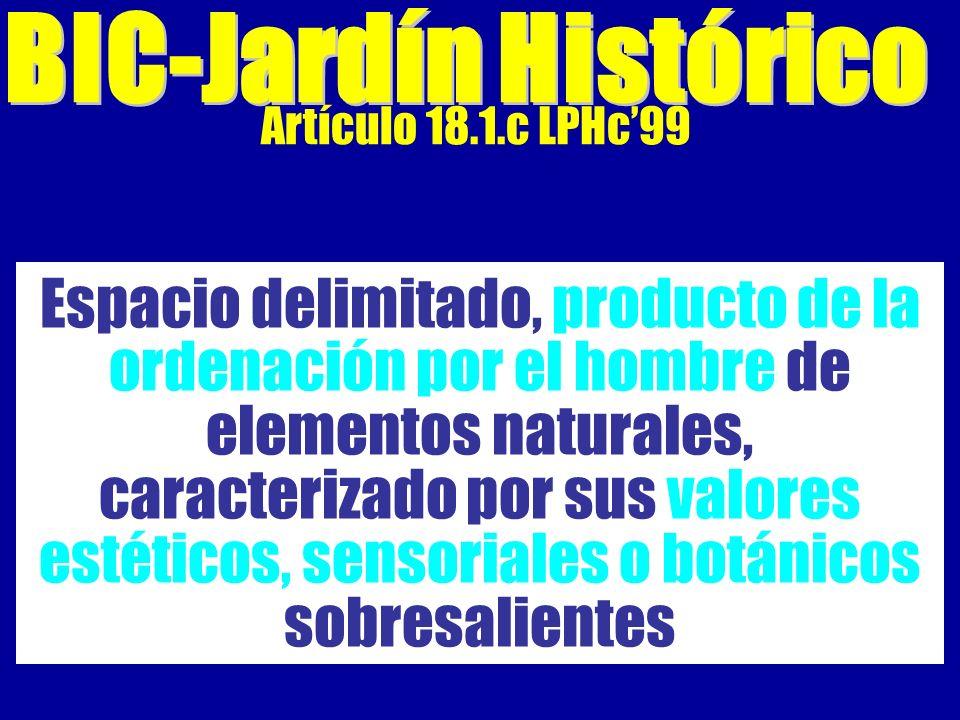Artículo 18.1.c LPHc99 Espacio delimitado, producto de la ordenación por el hombre de elementos naturales, caracterizado por sus valores estéticos, sensoriales o botánicos sobresalientes