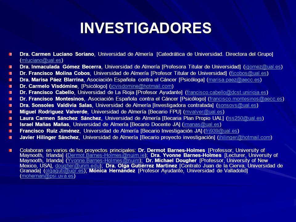 INVESTIGADORES Dra. Carmen Luciano Soriano, Universidad de Almería [Catedrática de Universidad. Directora del Grupo] (mluciano@ual.es)mluciano@ual.es