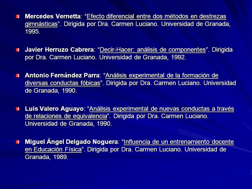Mercedes Vernetta: Efecto diferencial entre dos métodos en destrezas gimnásticas. Dirigida por Dra. Carmen Luciano. Universidad de Granada, 1995. Javi