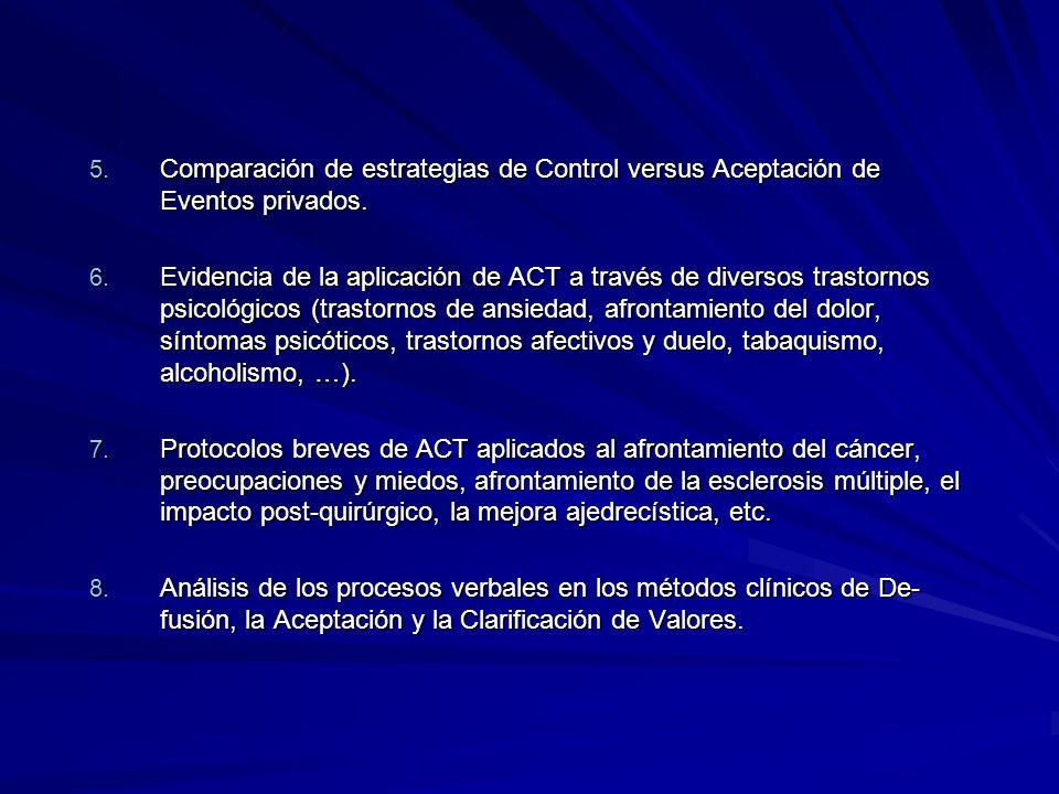 5. Comparación de estrategias de Control versus Aceptación de Eventos privados. 6. Evidencia de la aplicación de ACT a través de diversos trastornos p