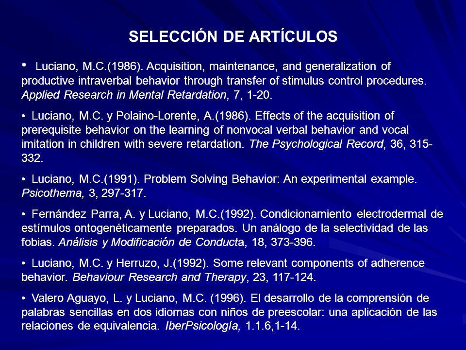SELECCIÓN DE ARTÍCULOS Luciano, M.C.(1986).