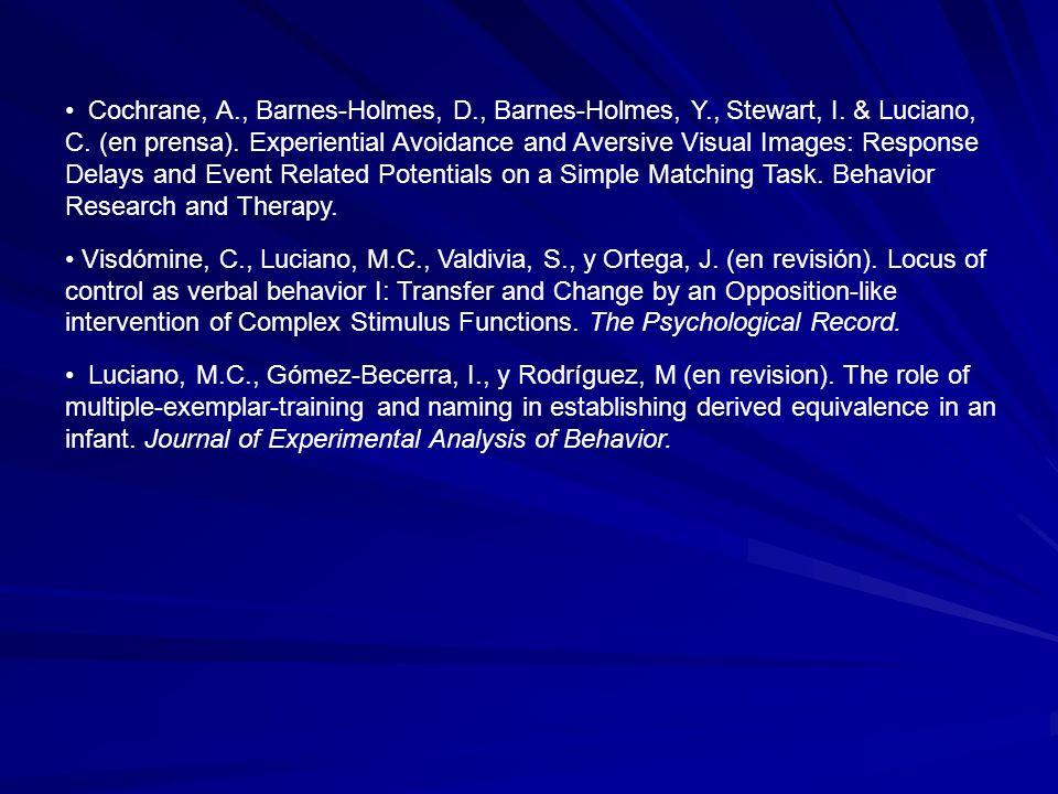 Cochrane, A., Barnes-Holmes, D., Barnes-Holmes, Y., Stewart, I. & Luciano, C. (en prensa). Experiential Avoidance and Aversive Visual Images: Response