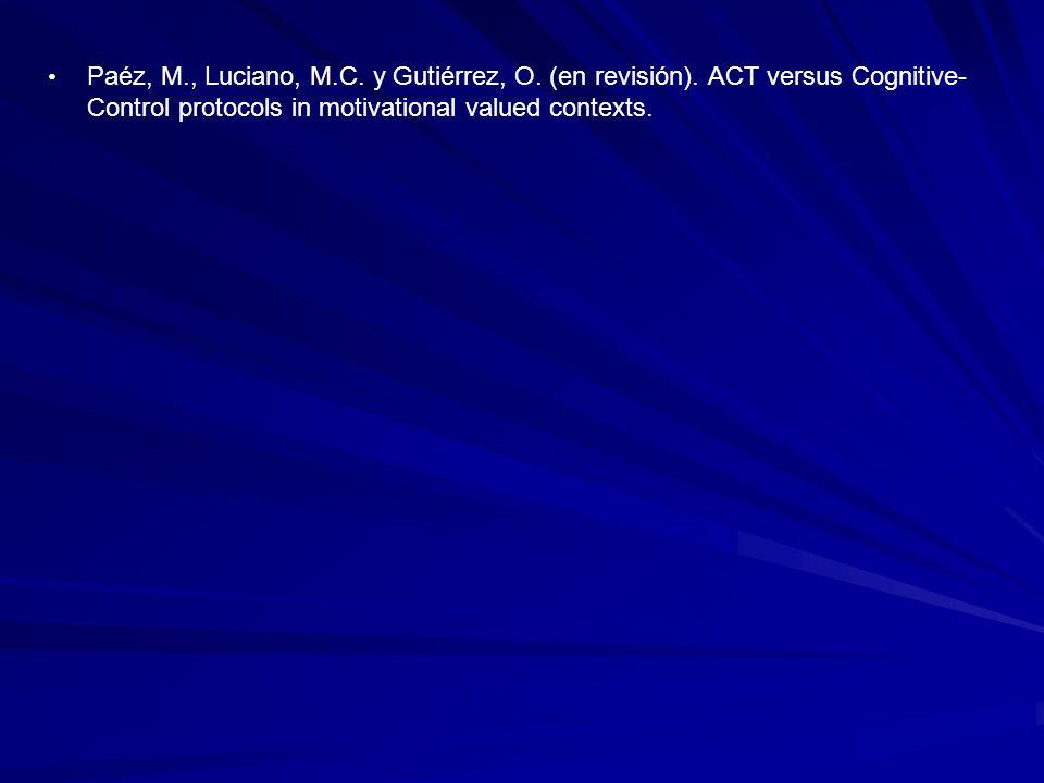 Paéz, M., Luciano, M.C.y Gutiérrez, O. (en revisión).