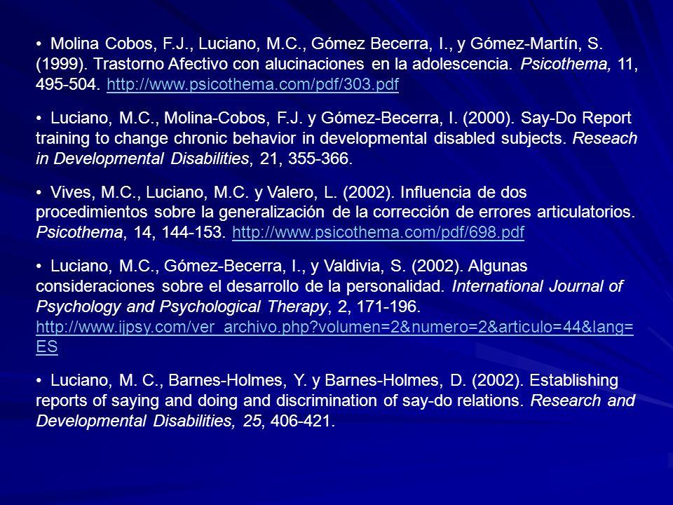 Molina Cobos, F.J., Luciano, M.C., Gómez Becerra, I., y Gómez-Martín, S. (1999). Trastorno Afectivo con alucinaciones en la adolescencia. Psicothema,