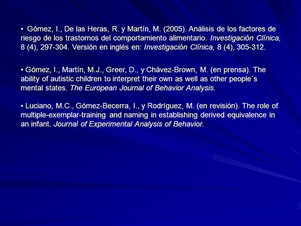 Gómez, I., De las Heras, R. y Martín, M. (2005). Análisis de los factores de riesgo de los trastornos del comportamiento alimentario. Investigación Cl
