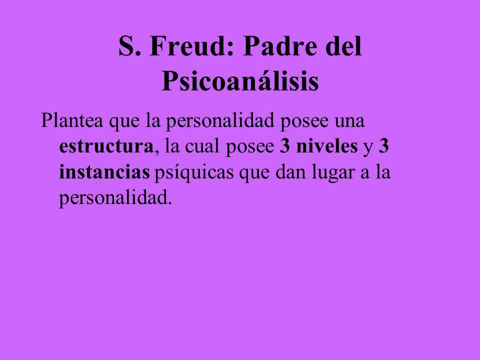 S. Freud: Padre del Psicoanálisis Plantea que la personalidad posee una estructura, la cual posee 3 niveles y 3 instancias psíquicas que dan lugar a l