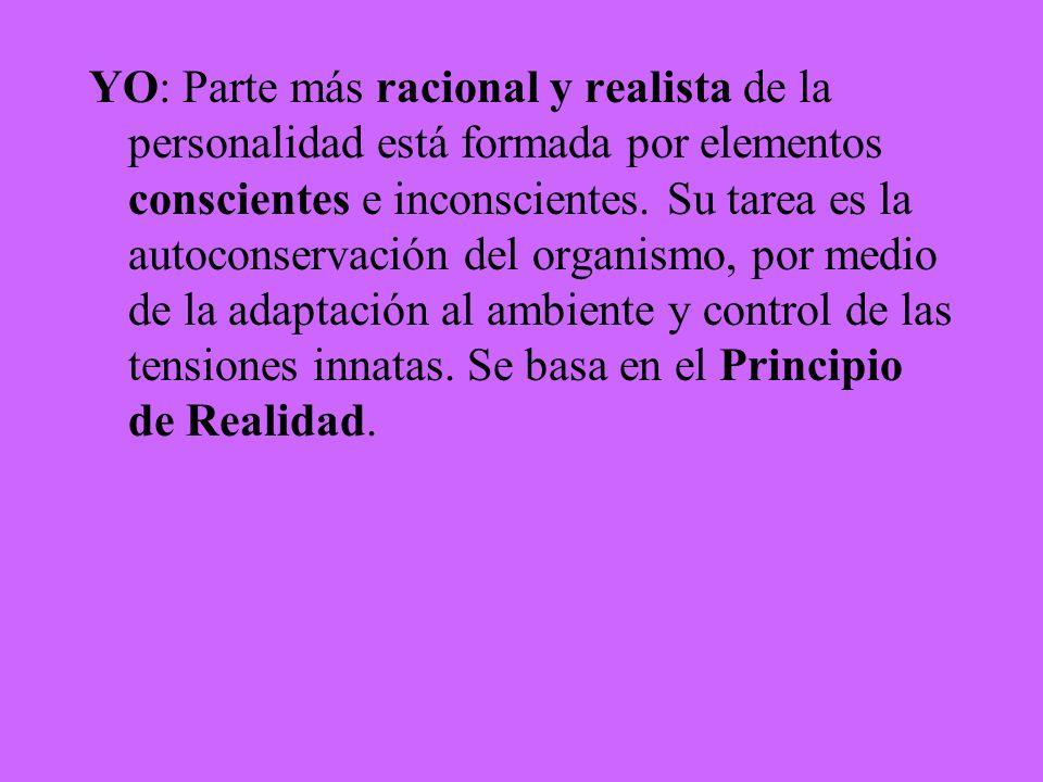 YO: Parte más racional y realista de la personalidad está formada por elementos conscientes e inconscientes. Su tarea es la autoconservación del organ