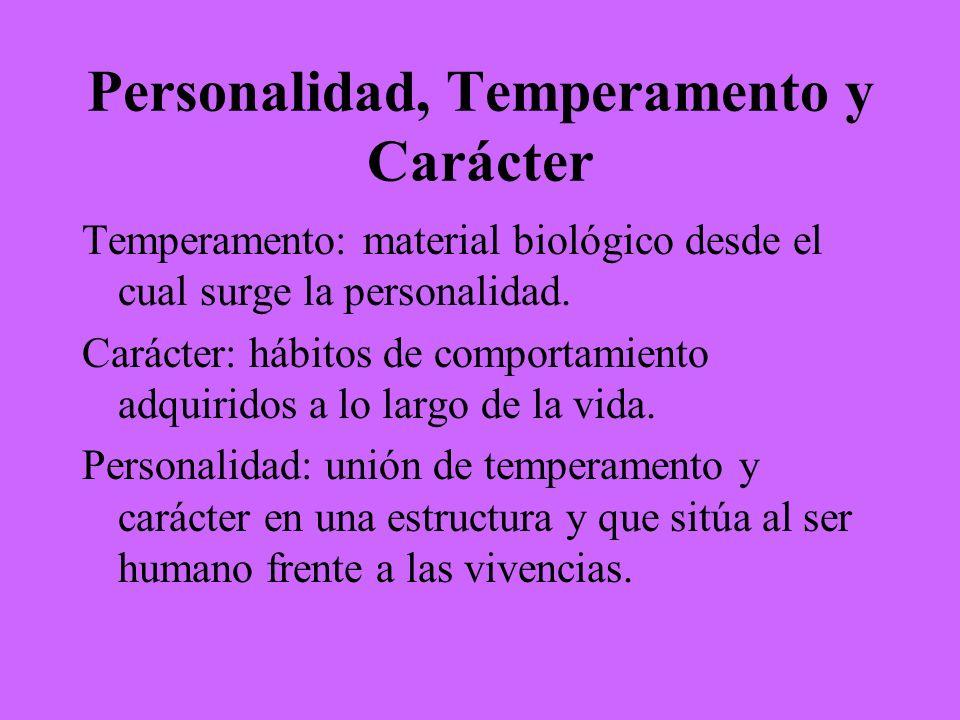 Personalidad, Temperamento y Carácter Temperamento: material biológico desde el cual surge la personalidad. Carácter: hábitos de comportamiento adquir
