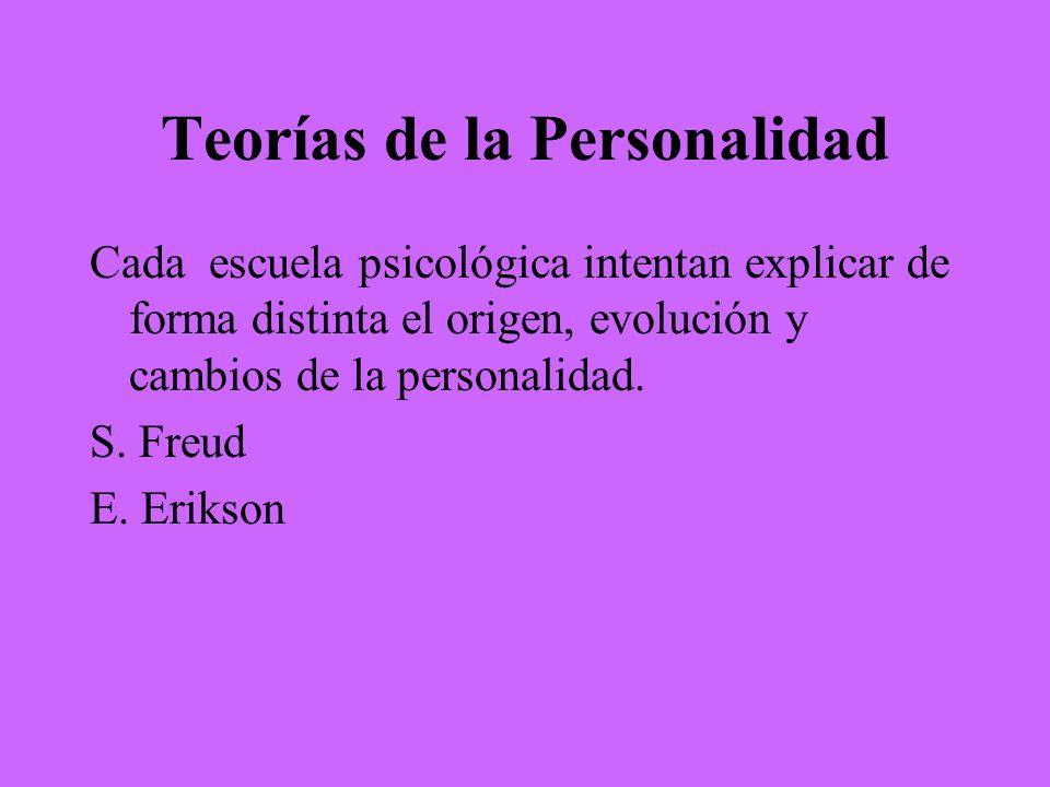 Teorías de la Personalidad Cada escuela psicológica intentan explicar de forma distinta el origen, evolución y cambios de la personalidad. S. Freud E.
