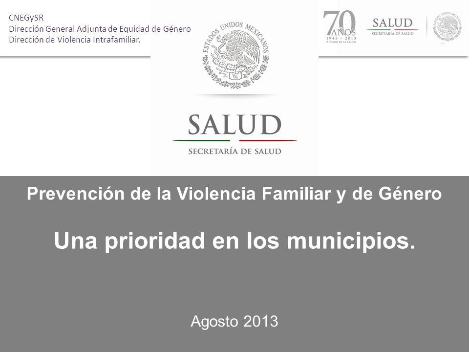 Prevención de la Violencia Familiar y de Género Una prioridad en los municipios. Agosto 2013 CNEGySR Dirección General Adjunta de Equidad de Género Di