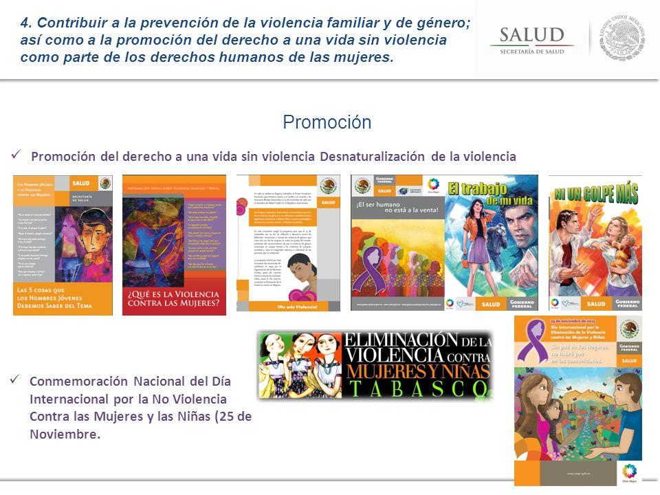 Promoción Promoción del derecho a una vida sin violencia Desnaturalización de la violencia 4. Contribuir a la prevención de la violencia familiar y de
