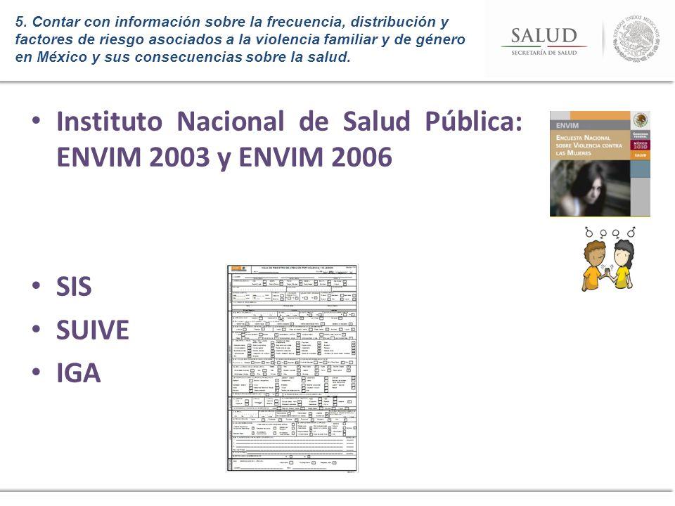 5. Contar con información sobre la frecuencia, distribución y factores de riesgo asociados a la violencia familiar y de género en México y sus consecu