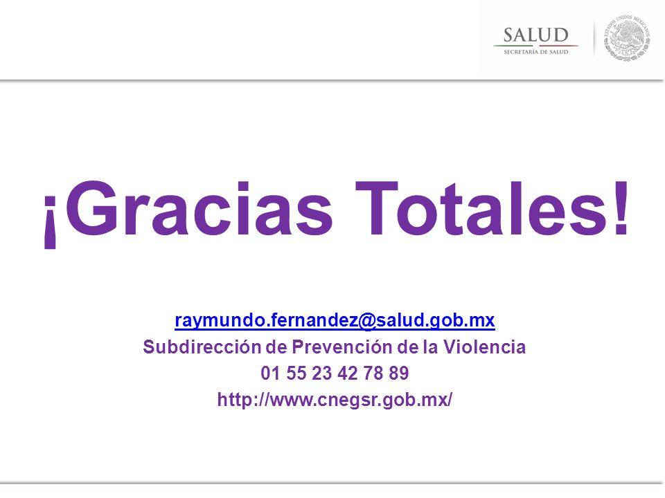 ¡Gracias Totales! raymundo.fernandez@salud.gob.mx Subdirección de Prevención de la Violencia 01 55 23 42 78 89 http://www.cnegsr.gob.mx/