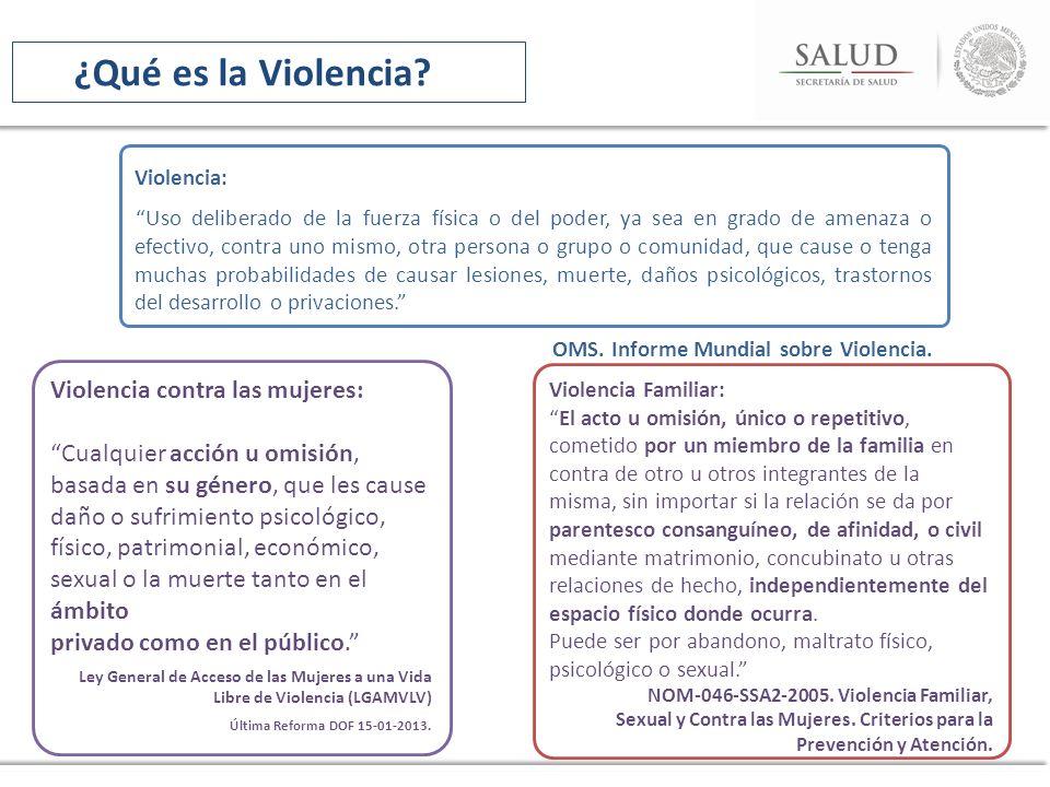 Violencia Familiar: El acto u omisión, único o repetitivo, cometido por un miembro de la familia en contra de otro u otros integrantes de la misma, si