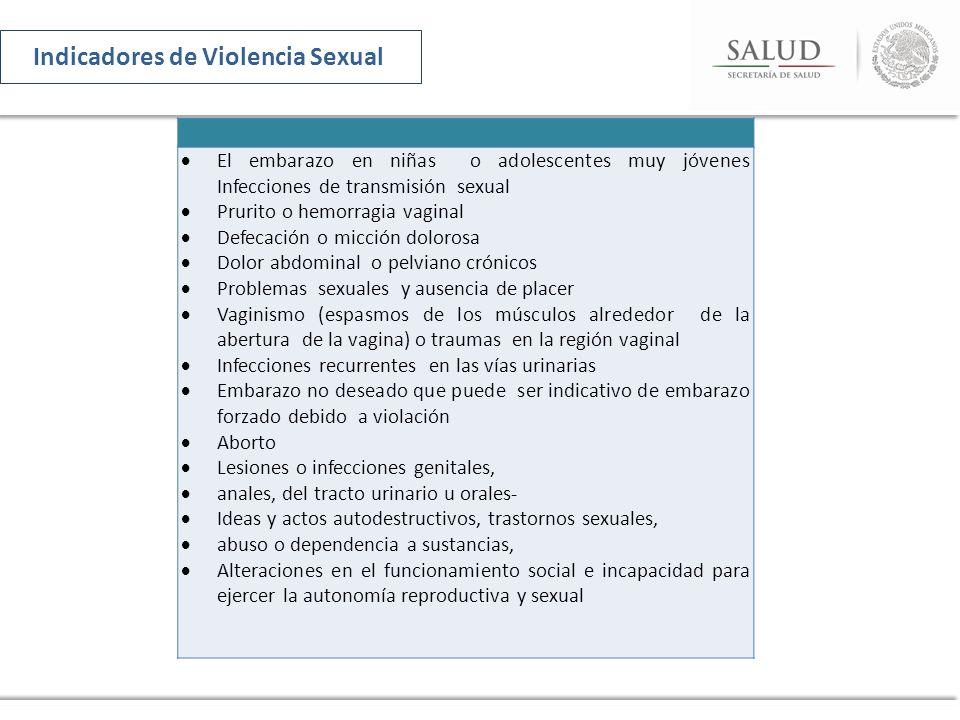 El embarazo en niñas o adolescentes muy jóvenes Infecciones de transmisión sexual Prurito o hemorragia vaginal Defecación o micción dolorosa Dolor abd