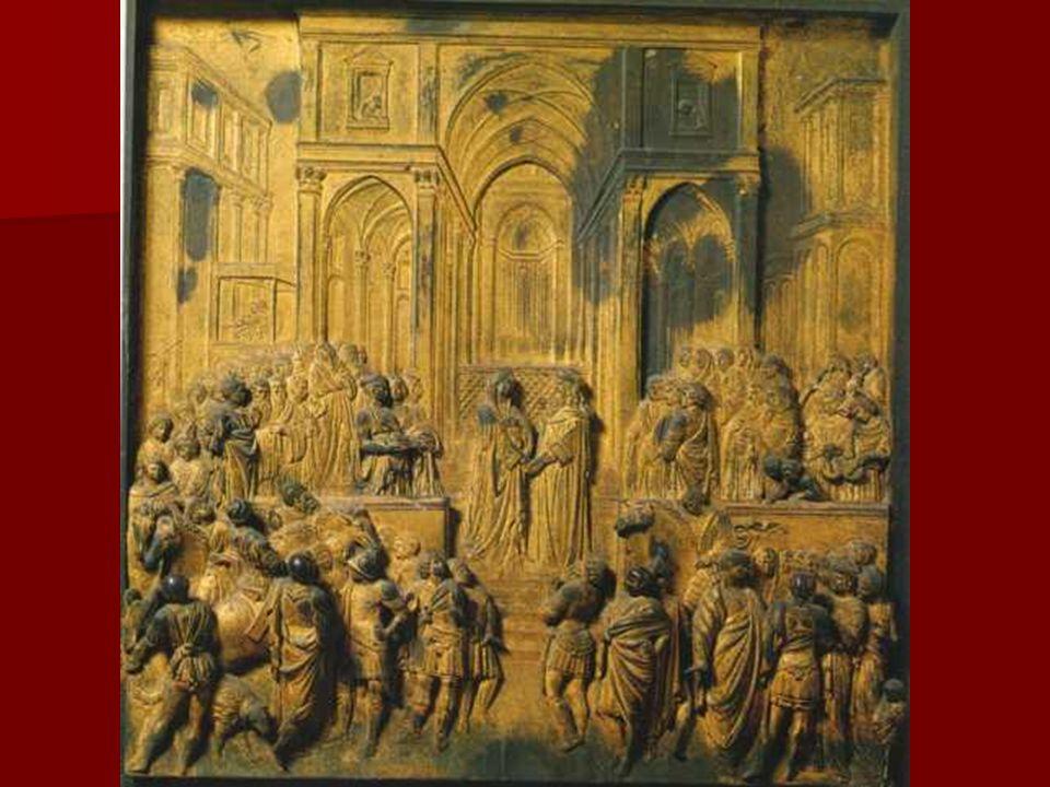 El formato rectangular de los relieves, al tiempo que rompe con la forma lobulada de reminiscencias góticas, subraya el esquema perspectivo desde el q