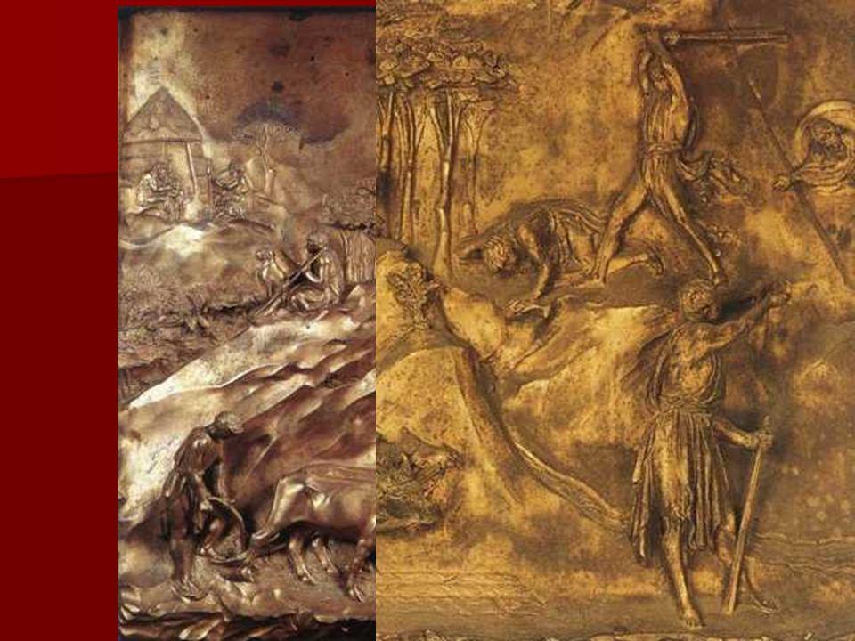 En estos relieves el escultor introduce como fondos escenográficos de las composiciones, paisajes y arquitecturas de tipo clásico que, aunque concebid